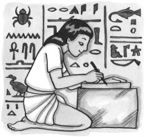 An Egyptian boy writing. Scribe, hieroglyphs, symbols denoting meaning. Carving in stone or painting. System of sign language. Ancient Egypt.